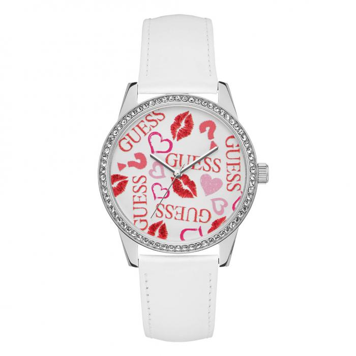SKU-41298 / GUESS Crystals White Leather Strap