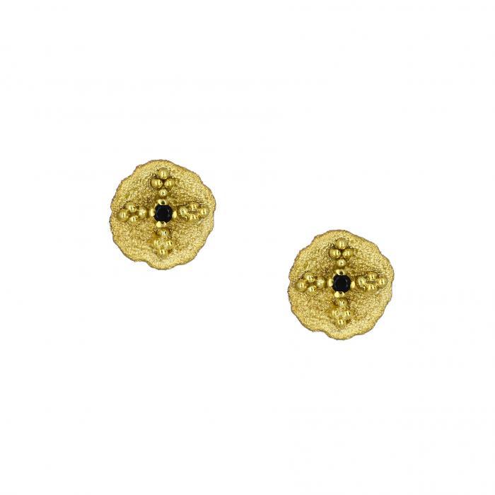 SKU-41025 / Σκουλαρίκια Χρυσός Κ14 με Ζιργκόν