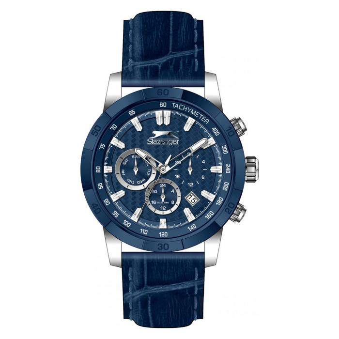SKU-41904 / SLAZENGER Dual Time Blue Leather Strap