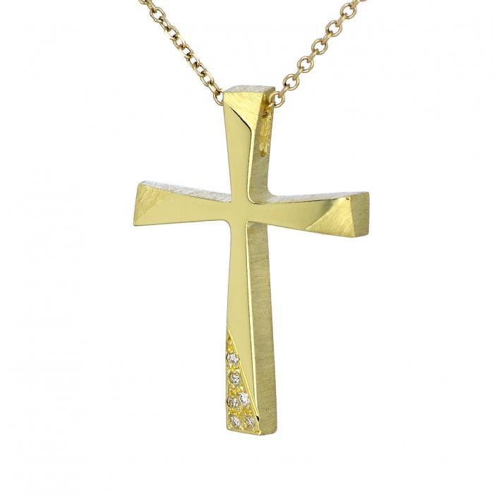 SKU-41013 / Σταυρός Τριάντος Χρυσός Κ 18 με Διαμάντια