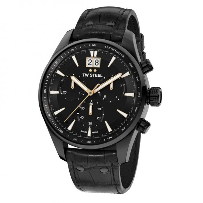 SKU-41710 / TW STEEL ACE Aternus Limited Edition Chronograph Black Leather Strap