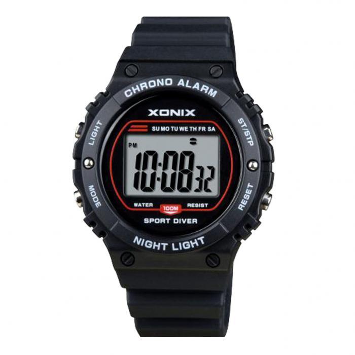 SKU-41820 / XONIX Mens Chronograph Black Silicone Strap