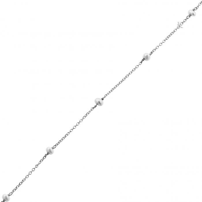 SKU-42732 / Βραχιόλι Λευκόχρυσος Κ14 με Μαργαριτάρια