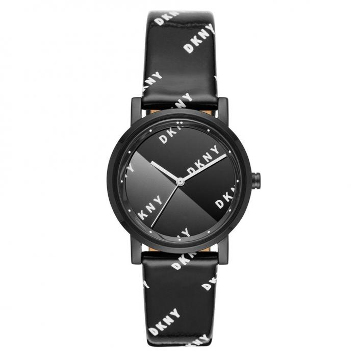 DKNY Soho Black Leather Strap