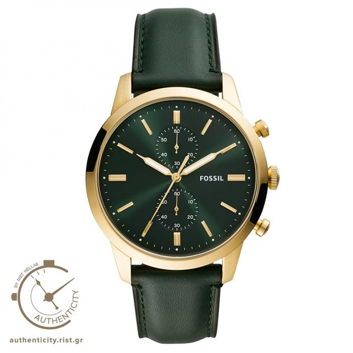 SKU-42448 / FOSSIL Townsman Chronograph Green Leather Strap