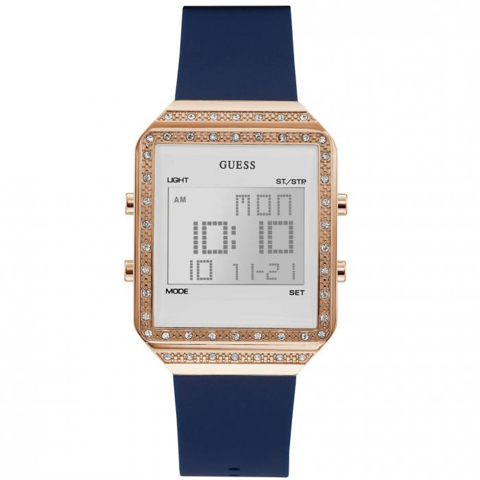 SKU-42052 / GUESS Ladies Crystals Chronograph Blue Rubber Strap