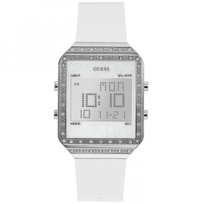 SKU-42051 / GUESS Ladies Crystals Chronograph White Rubber Strap