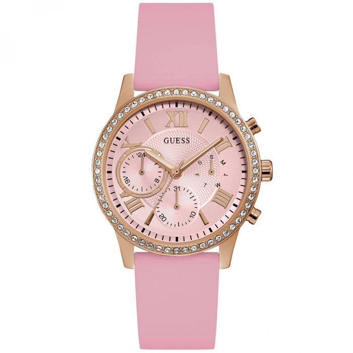 SKU-42002 / GUESS Ladies Crystals Pink Rubber Strap