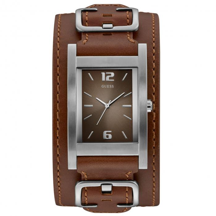 SKU-42017 / GUESS Mens Brown Leather Strap