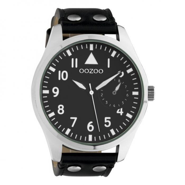 SKU-42466 / OOZOO Timepieces Black Leather Strap