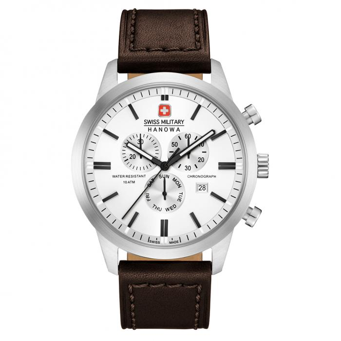 SKU-42390 / SWISS MILITARY HANOWA Chrono Classic Brown Leather Strap
