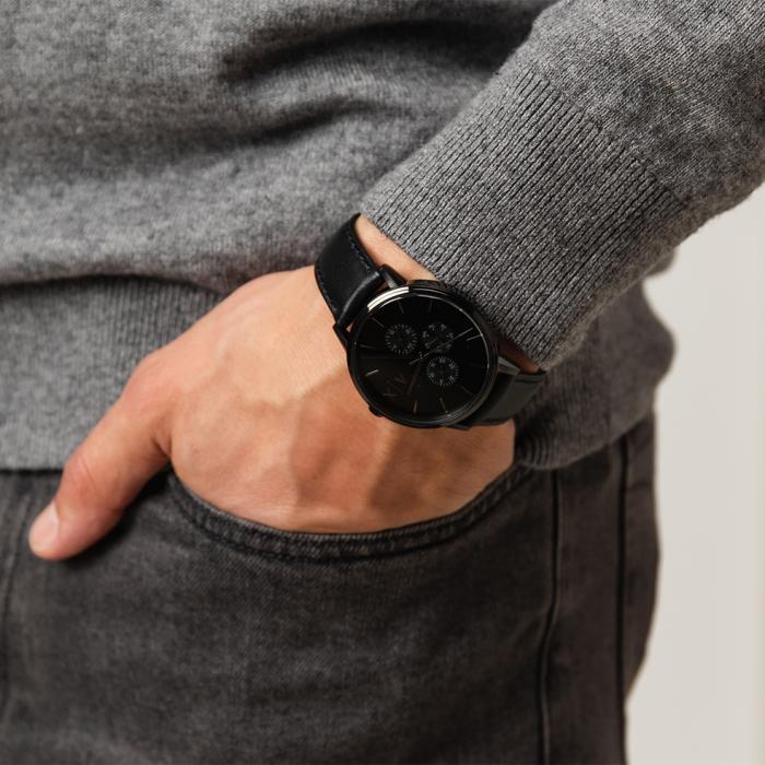 ARMANI EXCHANGE Cayde Black Leather Strap