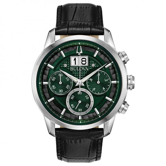 SKU-43401 / BULOVA Chronograph Black Leather Strap