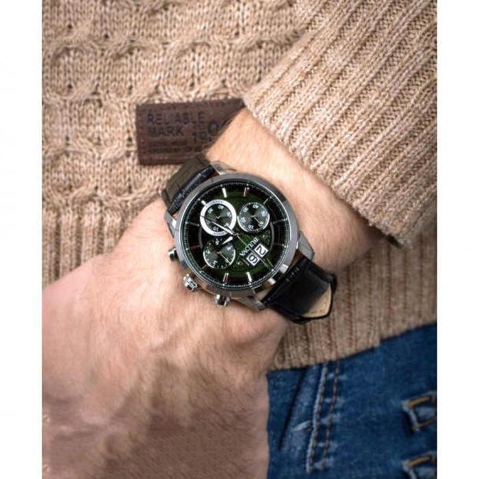 BULOVA Chronograph Black Leather Strap