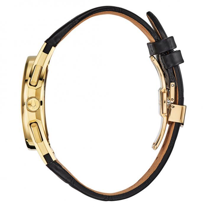 BULOVA Curv Chronograph Black Leather Strap