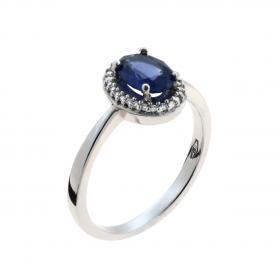 Δαχτυλίδι Λευκόχρυσος Κ18 με Διαμάντι & Ζαφείρι SKU-43613