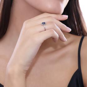 Δαχτυλίδι Λευκόχρυσος Κ18 με Διαμάντι & Ζαφείρι Δαχτυλίδια