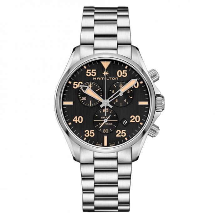 SKU-43524 / HAMILTON Khaki Pilot Chronograph Silver Stainless Steel Bracelet