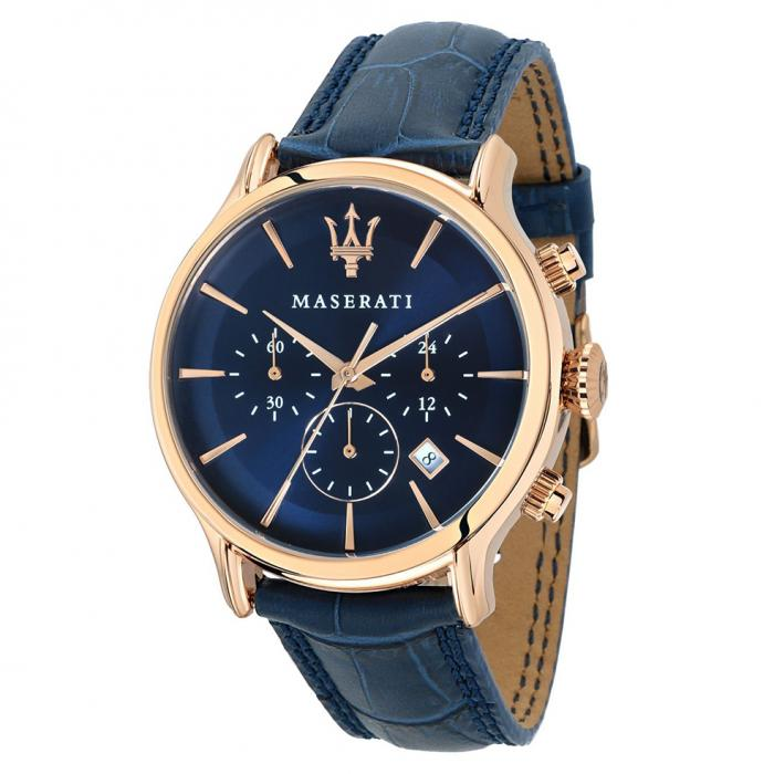 SKU-43205 / MASERATI Epoca Chronograph Blue Leather Strap