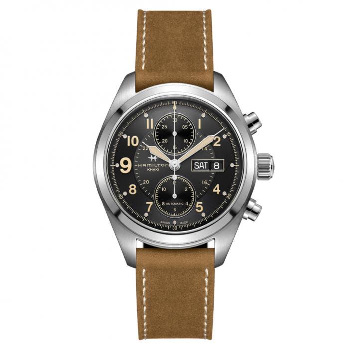 SKU-44518 / HAMILTON Khaki Field Chronograph Brown Leather Strap