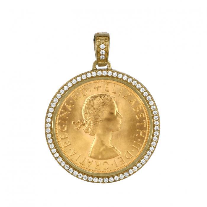 Μενταγιόν Λιροθήκη Χρυσός Κ14 με Ζιργκόν