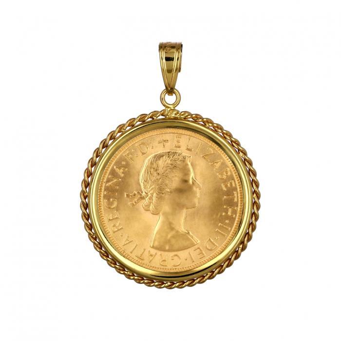 Μενταγιόν Λιροθήκη Χρυσός Κ14