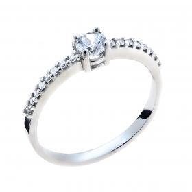 Μονόπετρο Δαχτυλίδι Λευκόχρυσος Κ9 με Ζιργκόν SKU-44506