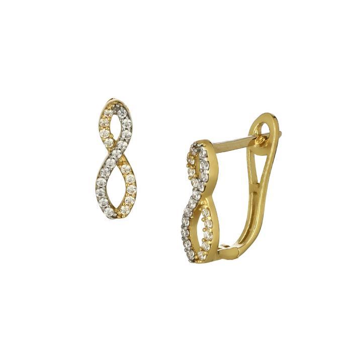 SKU-44869 / Σκουλαρίκια Άπειρο Χρυσός Κ14 με Ζιργκόν
