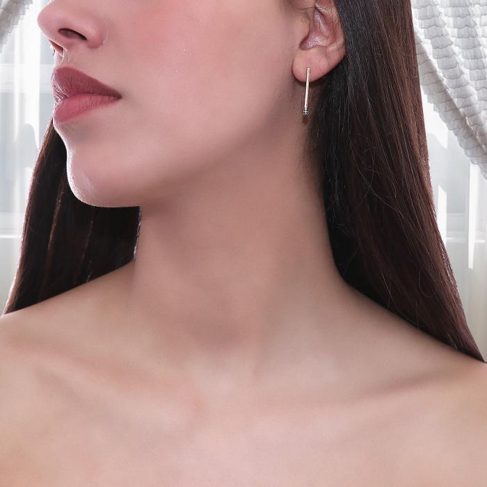 Σκουλαρίκια Ροζ Χρυσός Κ14 με Διαμάντια