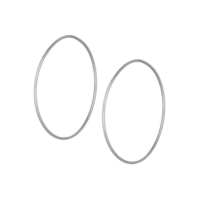 SKU-44739 / Σκουλαρίκια Κρίκοι Λευκόχρυσος Κ14