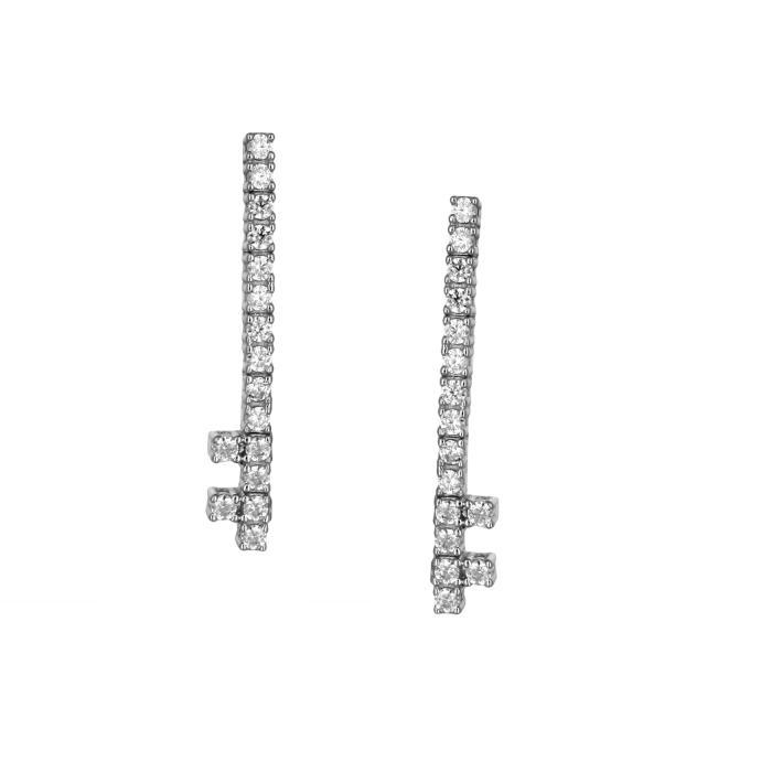 SKU-44752 / Σκουλαρίκια Λευκόχρυσος Κ14 με Ζιργκόν