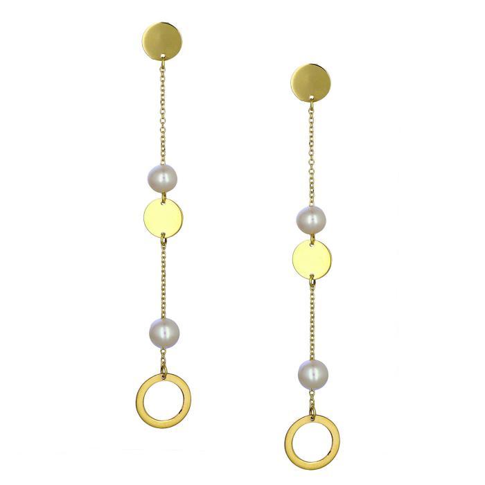 SKU-44687 / Σκουλαρίκια Χρυσός Κ14 με Μαργαριτάρια