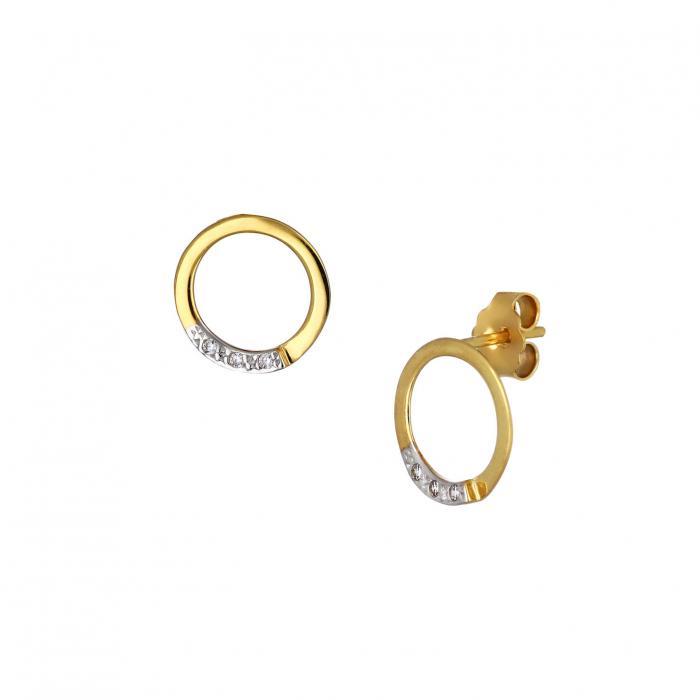 SKU-44333 / Σκουλαρίκια Χρυσός & Λευκόχρυσος Κ14 με ΖΙργκόν