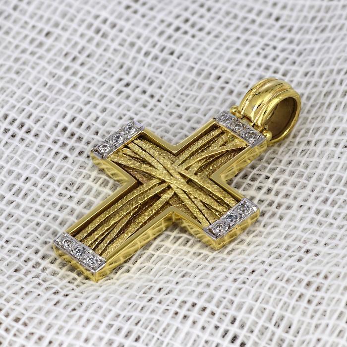 SKU-44326 / Σταυρός Χρυσός & Λευκόχρυσος Κ14 με Ζιργκόν