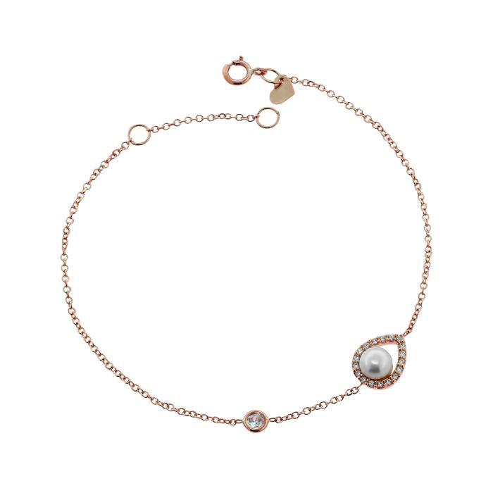 SKU-45762 / Βραχιόλι Δάκρυ Ροζ Χρυσός Κ9 με Μαργαριτάρι & Ζιργκόν