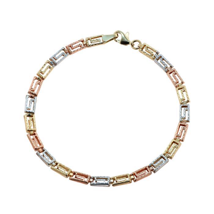 SKU-45859 / Βραχιόλι Μαίανδρος Χρυσός, Λευκόχρυσος & Ροζ Χρυσός Κ14