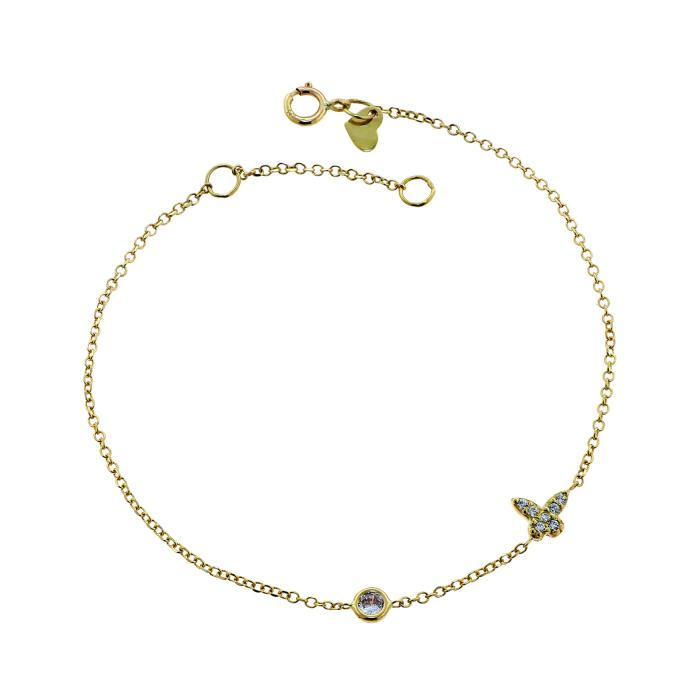 SKU-45756 / Βραχιόλι Πεταλούδα Χρυσός Κ9 με Ζιργκόν