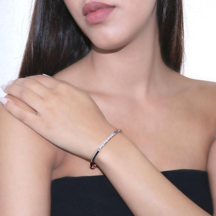 Βραχιόλι Χειροπέδα Χειροποίητο Λευκόχρυσος Κ18 με Διαμάντια