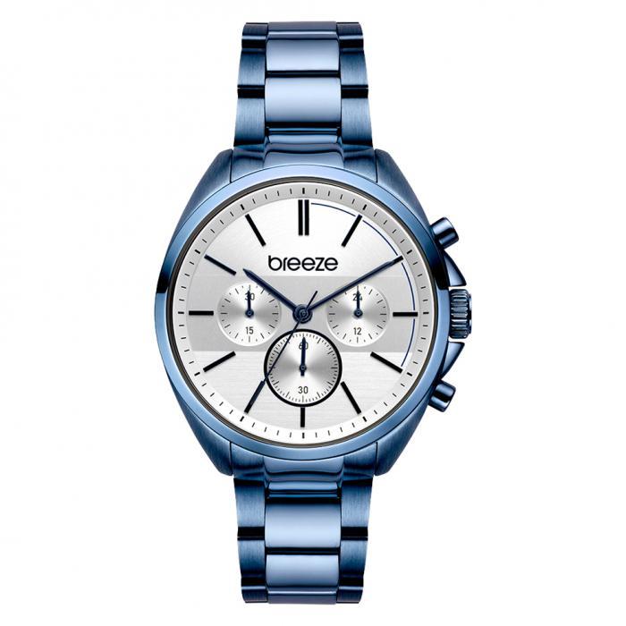 SKU-45430 / BREEZE GlowRaider Chronograph Blue Stainless Steel Bracelet