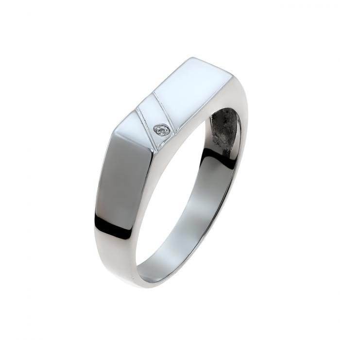 SKU-45418 / Δαχτυλίδι Λευκόχρυσος Κ9 με Ζιργκόν