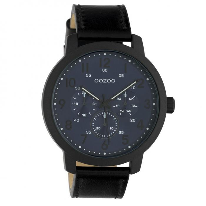 SKU-45670 / OOZOO Timepieces Summer Black Leather Strap