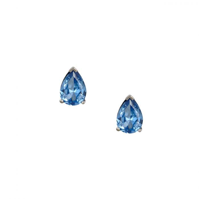 SKU-45199 / Σκουλαρίκια Δάκρυ Λευκόχρυσος Κ14 με Ζιργκόν