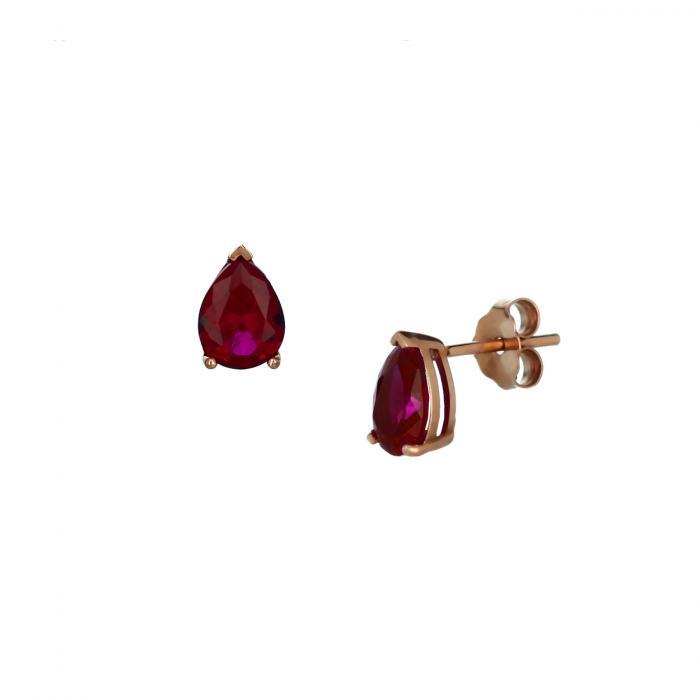 SKU-45202 / Σκουλαρίκια Δάκρυ Ροζ Χρυσός Κ14 με Ρουμπίνι