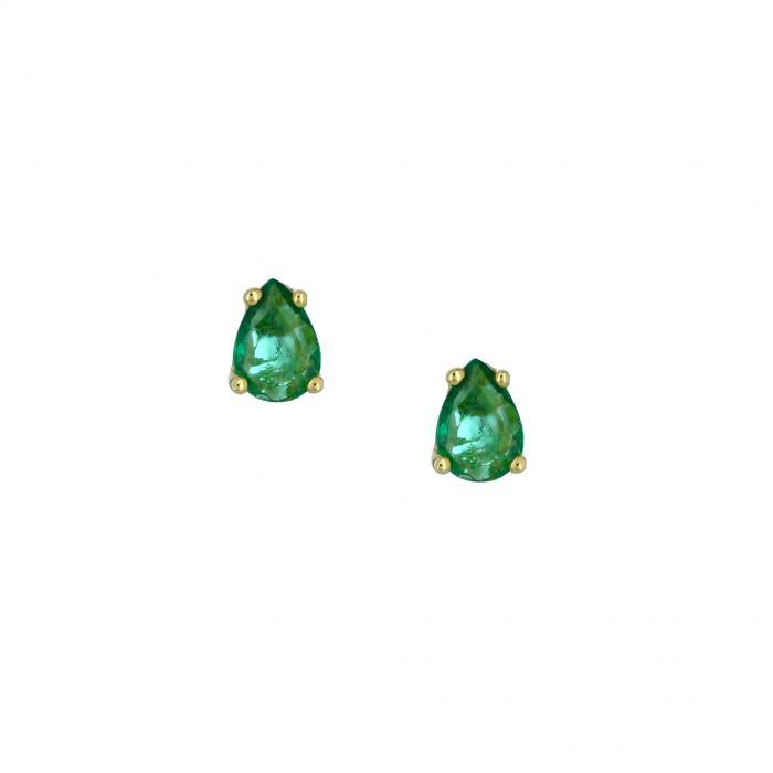 SKU-45039 / Σκουλαρίκια Δάκρυ Χρυσός Κ14 με Σμαράγδι