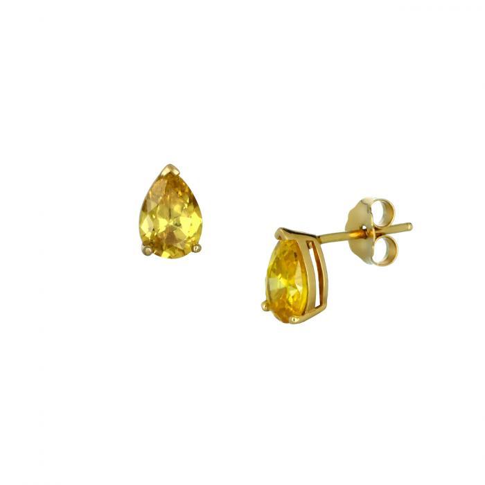 SKU-45198 / Σκουλαρίκια Δάκρυ Χρυσός Κ14 με Ζιργκόν