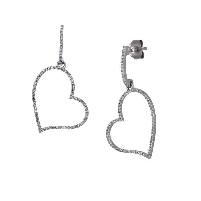 Σκουλαρίκια Καρδιά Λευκόχρυσος Κ14 με Διαμάντια