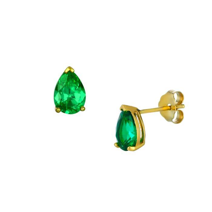 SKU-45203 / Σκουλαρίκια Δάκρυ Χρυσός Κ14 με Ζιργκόν