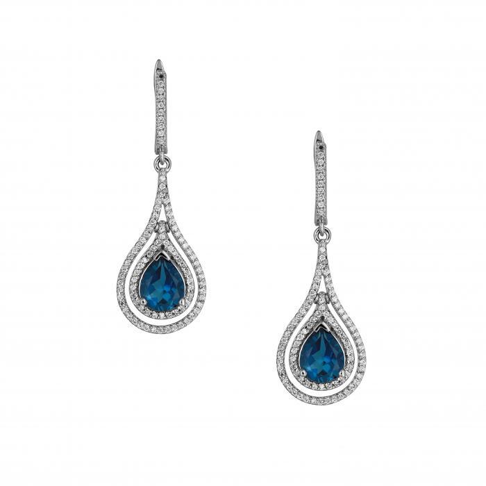 SKU-45998 / Σκουλαρίκια Λευκόχρυσος Κ18 με London Blue Topaz & Διαμάντια