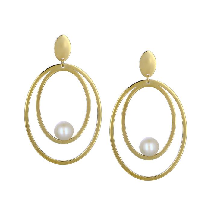 SKU-45528 / Σκουλαρίκια Χρυσός Κ14 με Μαργαριτάρι
