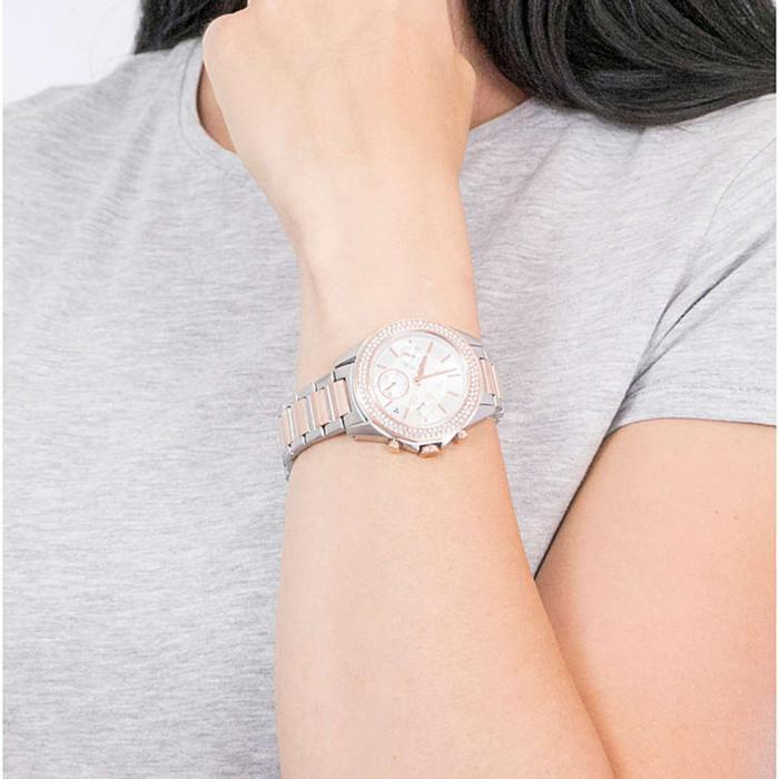 ARMANI EXCHANGE Drexler Crystals Two Tone Stainless Steel Bracelet
